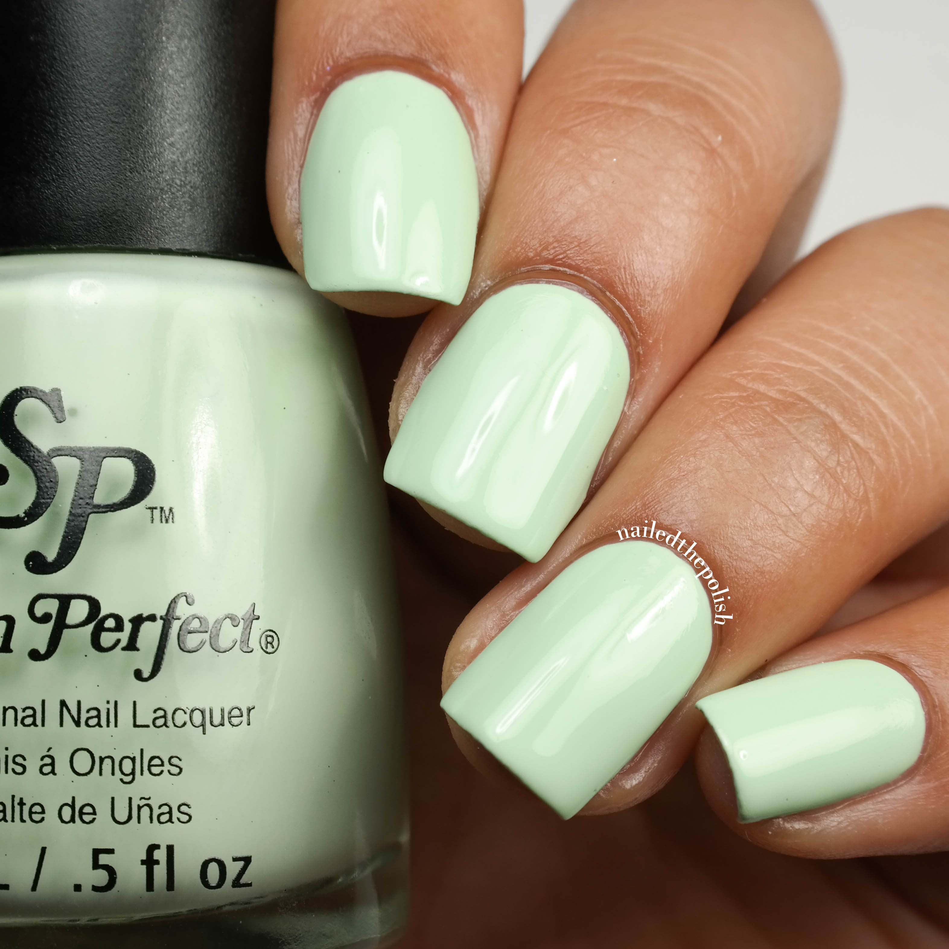 Mint Julep is a mint green creme polish. Shown here is two coats with top coat. This polish is an old favorite from Salon Perfect. Upon opening my package, ...