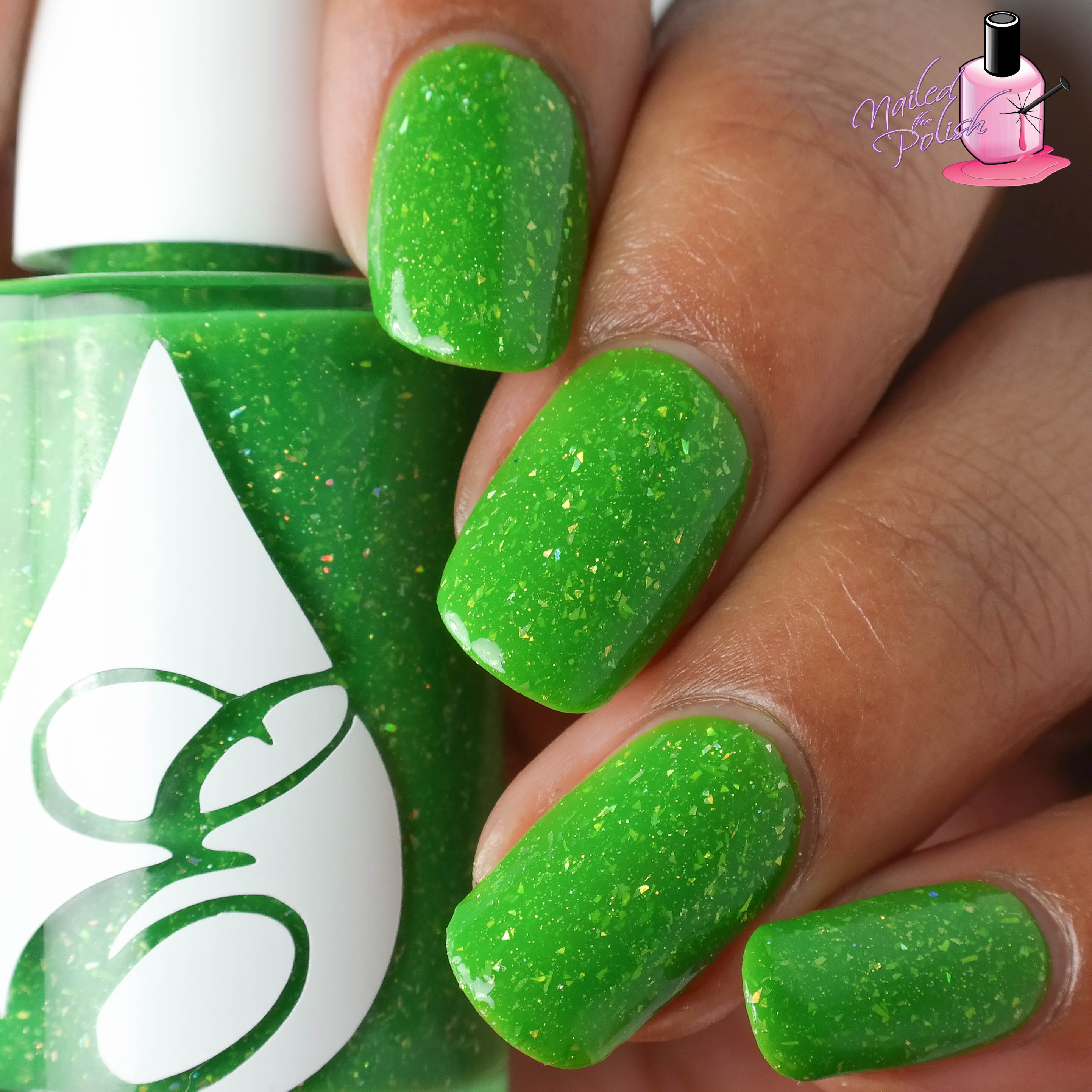 Zapped Apple Is A Bright Neon Green Jelly Filled With Holographic Flakie Shards And Micro Glitter Shown Here Three Thin Coats Plus Top Coat